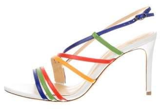 Alexandre Birman Leather Mid-Heel Strap Sandals White Leather Mid-Heel Strap Sandals