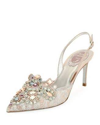 Rene Caovilla Crystal-Beaded Lace/Snake Halter Pump, Pink $1,125 thestylecure.com