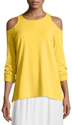Joan Vass Cold-Shoulder Long-Sleeve Top, Plus Size