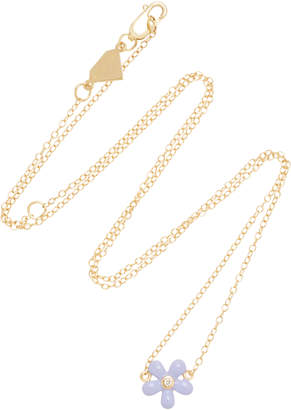 Alison Lou 14K Gold and Diamond Wildflower Necklace