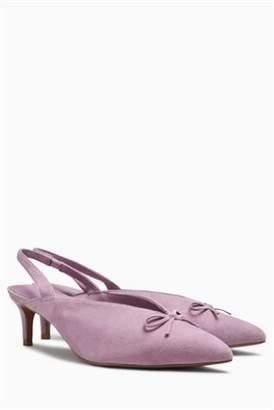 Next Womens Lilac Leather Bow Kitten Slingbacks