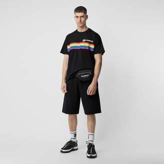 Burberry Rainbow Stripe Print Cotton Oversized T-shirt