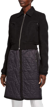 Rick Owens Fuzzy Wool Bomber-Top Coat w/ Quilted Bottom