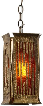 Rejuvenation Brutalist Swag Pendant w/ Amber Glass by Moe Bridges