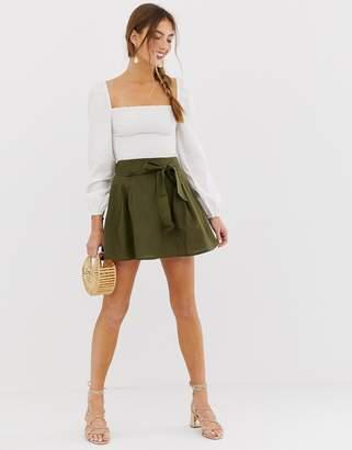Asos Design DESIGN tie front mini skirt in cotton