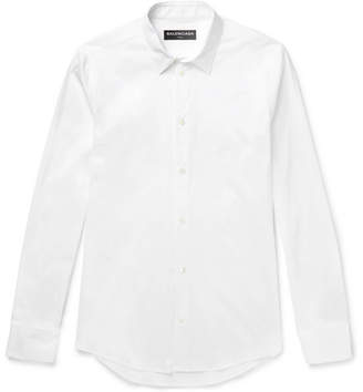 Balenciaga Slim-Fit Stretch Cotton-Blend Poplin Shirt - White
