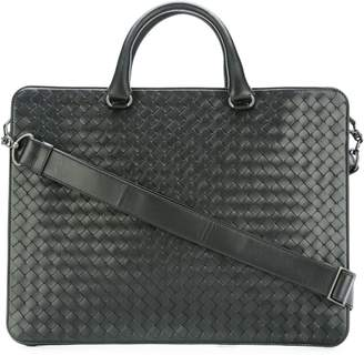 Bottega Veneta nero Intrecciato small briefcase
