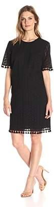 Lark & Ro Women's Short Sleeve Eyelet Tassel Shift Dress