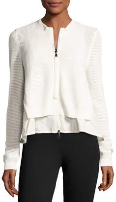 Moncler Layered Mesh Zip-Front Jacket