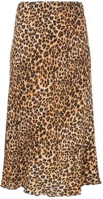 Nanushka Zarina leopard print straight midi skirt