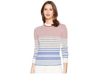 Jil Sander Navy Long Sleeve Pattern Mix Knit
