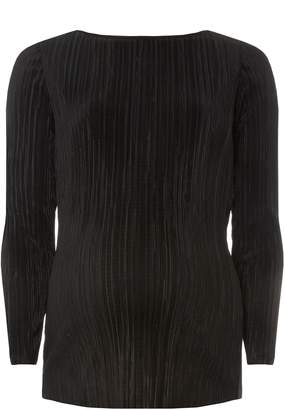 Dorothy Perkins Womens **Maternity Black Plisse Long Sleeve Top