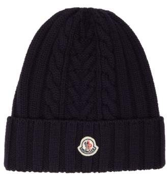 Moncler Cable Knit Wool Beanie Hat - Womens - Navy
