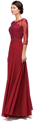 Dancing Queen - Lace-Applique Long Prom Dress with Sheer 3/4 Sleeves 9473X $174 thestylecure.com