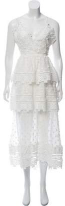 Self-Portrait Lace-Trimmed Midi Dress