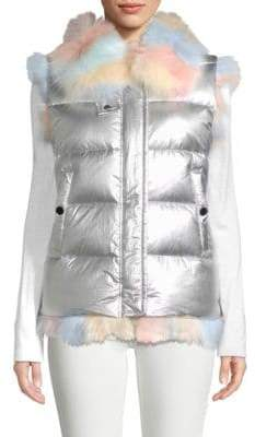 Dyed Fox Fur-Trimmed Metallic Goose Down Vest