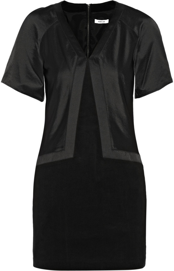 Helmut Lang Satin and cotton-blend mini dress