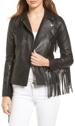 Trouve Women's Fringe Moto Leather Jacket