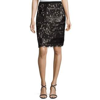 Elie Tahari Womens Sequined Lined Pencil Skirt