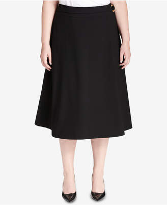 Calvin Klein Plus Size Belted A-Line Skirt