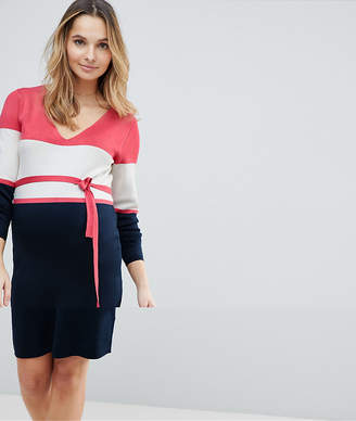 Mama Licious Mama.licious Mamalicious Colour Block Knitted Dress