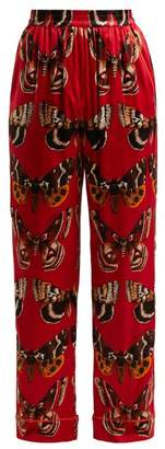 Dolce & Gabbana Butterfly Print Silk Blend Trousers - Womens - Red Print