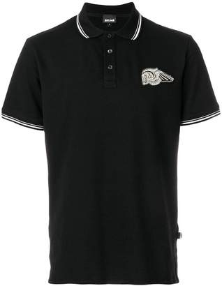 Just Cavalli skull patch polo shirt