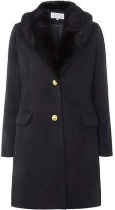 Dorothy Perkins Womens **Vila Navy Faux Fur Collar Coat