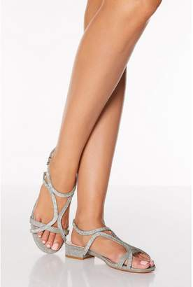 Quiz Pewter Diamante Strappy Low Heeled Sandals