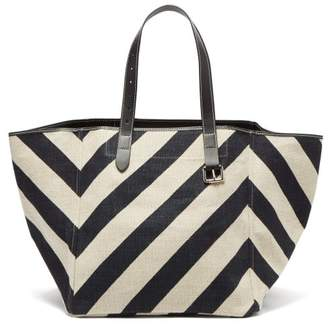 J.W.Anderson Belt Strap Striped Canvas Tote - Womens - Black White