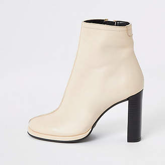 River Island White leather platform heel ankle boot