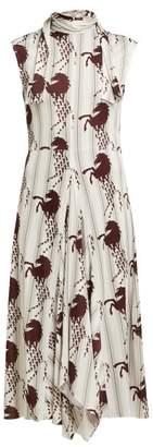 Chloé Little Horses Print Panelled Cady Midi Dress - Womens - Brown Multi