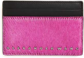 Alexander Wang Dime Leather Card Case with Genuine Calf Hair