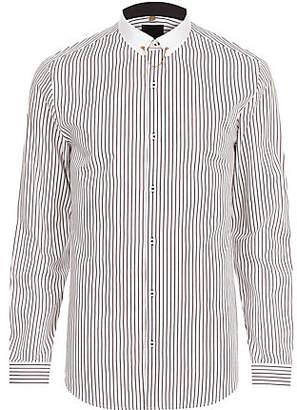 River Island White stripe contrast collar slim fit shirt