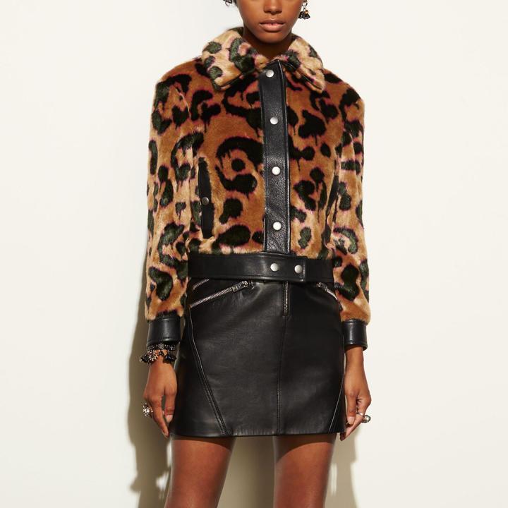 Coach  COACH Coach Wild Beast Faux Fur Jacket