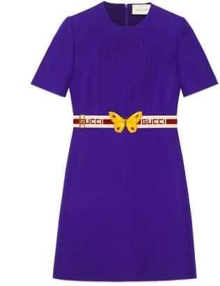 Gucci Wool silk pintuck dress with belt