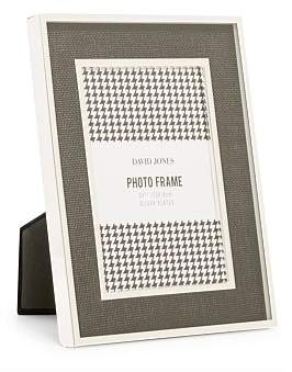 David Jones Silver Plated Black Linen 5 x 7 Metal Photo Frame