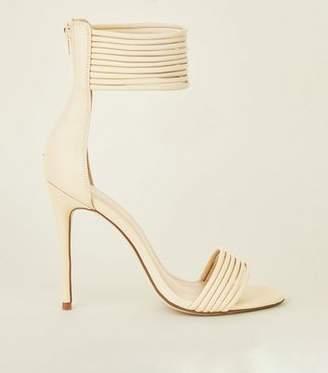 New Look Cream Tube Strap Stiletto Sandals