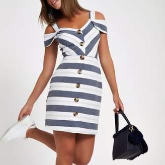 River Island Womens Grey stripe button front bardot midi dress