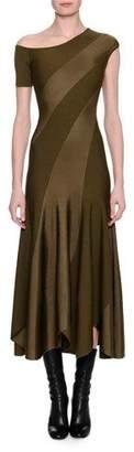 Alexander McQueen Spiral-Knit Bias-Cut Midi Dress, Khaki
