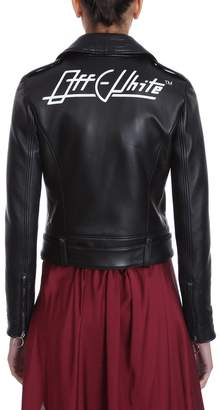 Off-White Off White Black Leather Jkt Biker Jacket