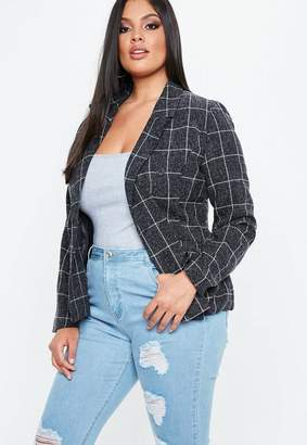 Missguided Navy Checked Jacket