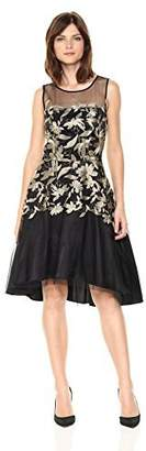 Tahari by Arthur S. Levine Women's Sleeveless Illusion Neck Fit and Flare Dress with Embroidery
