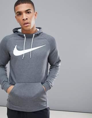 Nike Training Dry Swoosh Hoodie In Dark Grey 885818-071