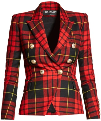 BALMAIN Double-breasted checked wool blazer $1,361 thestylecure.com