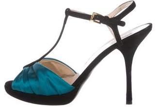 Prada Satin T-Straps Sandals
