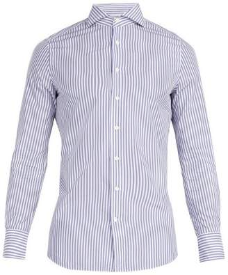 Privee Salle Salle Evron Cotton Poplin Striped Shirt - Mens - Navy