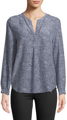 Joie Peterson Split-Neck Silk Blouse