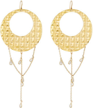 Devon Leigh Textured Hoop Drop Earrings w/ Cubic Zirconia