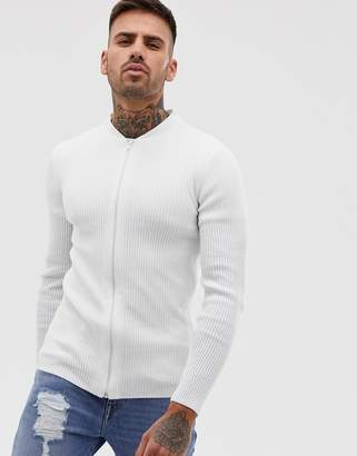 Asos Design DESIGN ribbed bomber in white